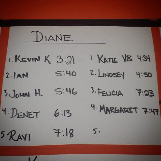 "Congrats to everyone who PR'd ""Diane"" the other day. Especially to @kvanbuuren who knocked me off the 1 spot! I'm not even mad about it! Quite impressive!"