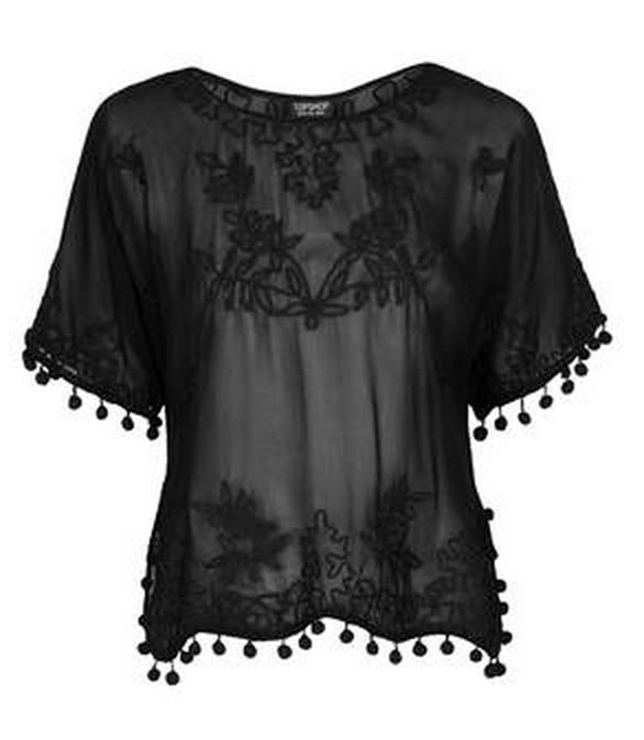 black smock lace top topshop