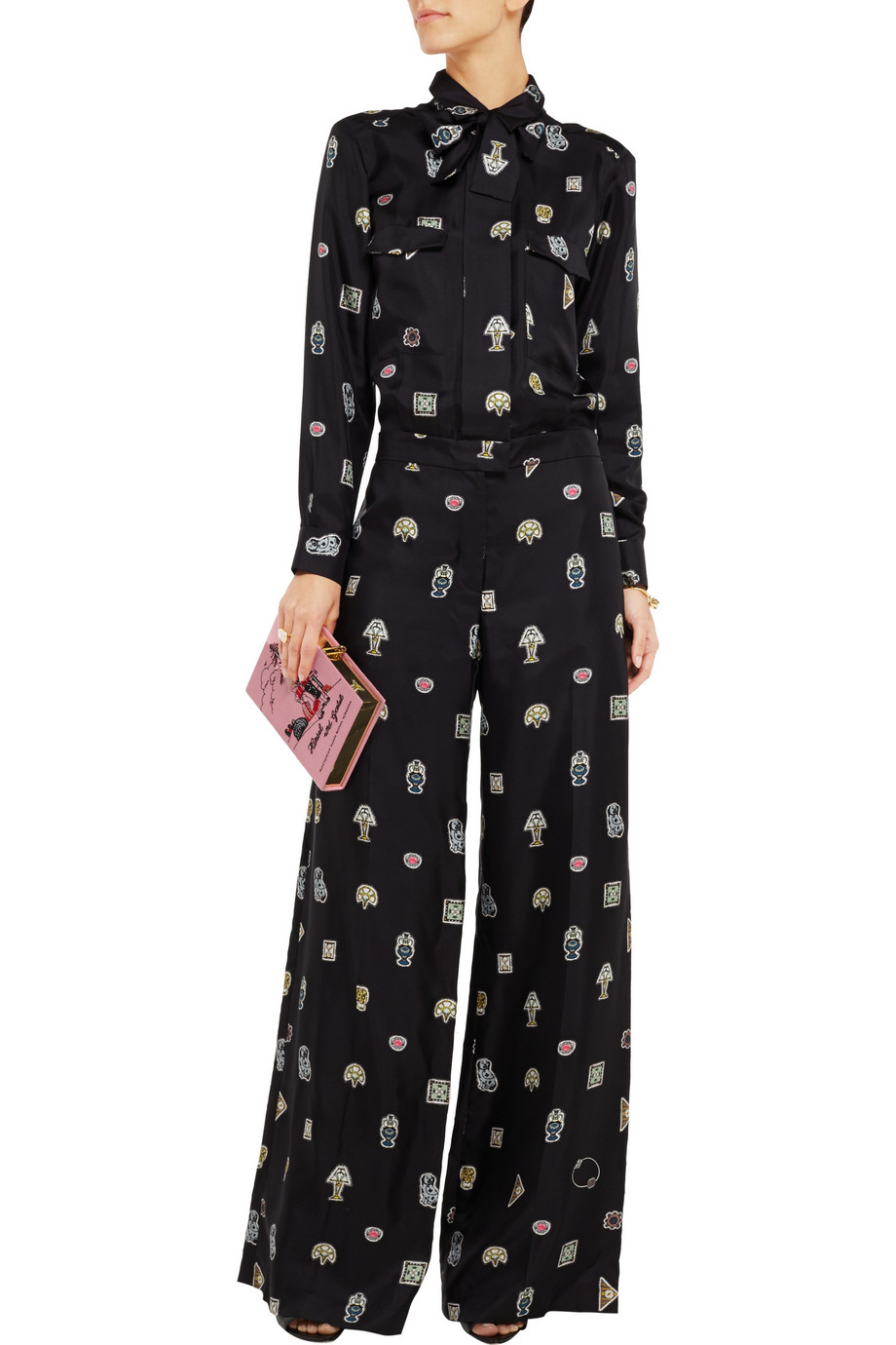 ISSA Kelse printed-silk jumpsuit