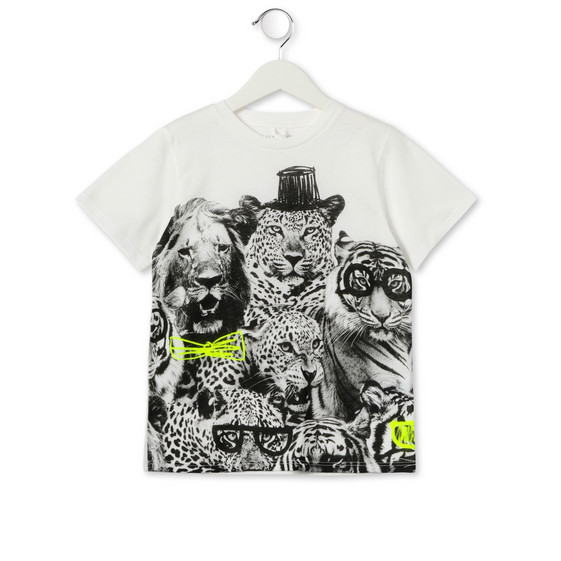 WHITE ARLO JUNGLE PRINT T-SHIRT