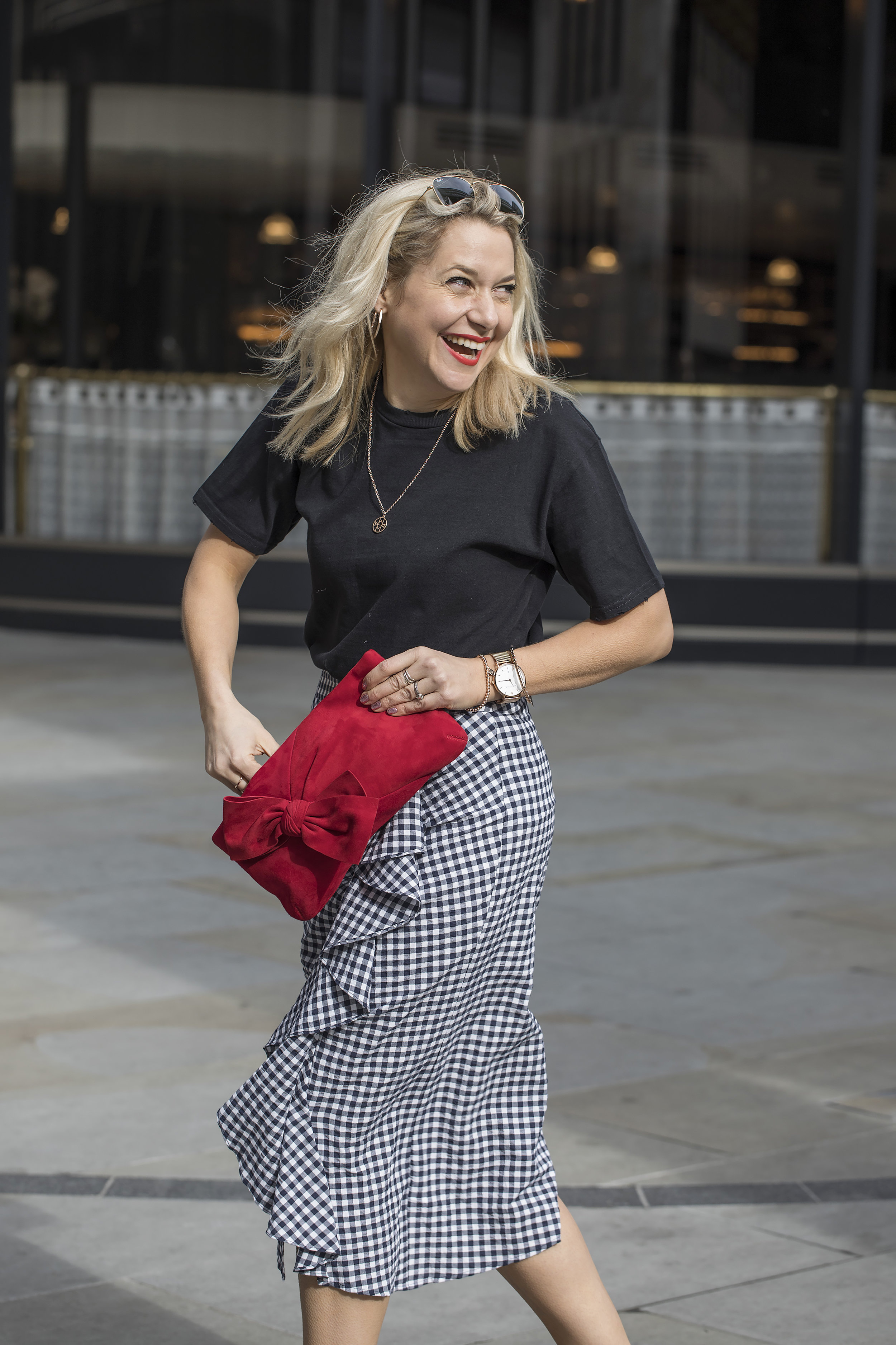 833c0131cc Gingham Ruffle Midi Skirt £39 /Asymmetric Gingham Frill Top £29 / He Loves  Me Blouse by Boutique £60 / MADNESS Studded Boots £72