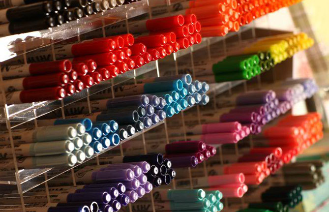 Pens and markers in a rainbow of colors!