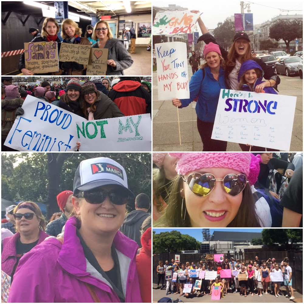 Sirenistas marching in San Francisco, San Luis Obispo, Minneapolis, New York and Buenos Aries.