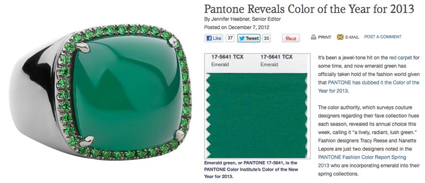 2013-Pantone-Color-of-the-Year-Emerald by Jane Taylor Jewelry