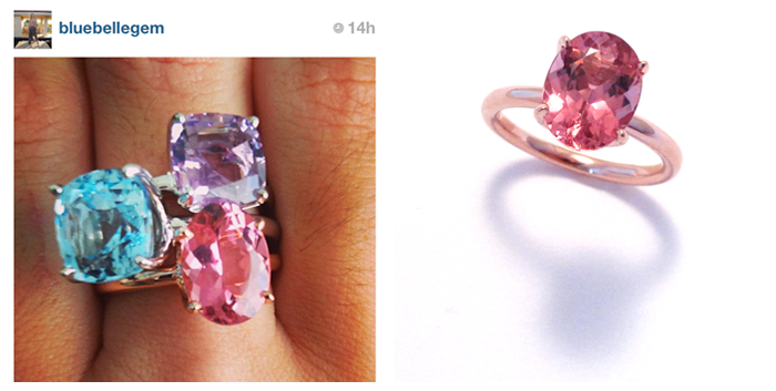 9.16.13 - A #regram of our customer showing off one of her incredible Twinkle Twinkle ring stacks | 9.11.13 - A gorgeous custom ordered Twinkle Twinkle stacking ring with pink tourmaline