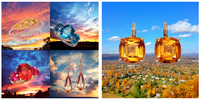 9.12.13 - A collage of my Summer obsession: Jane's gemmy jewelry paired with sunsets! | 9.04.13 - Gearing up for Fall by matching our jewelry to the foliage