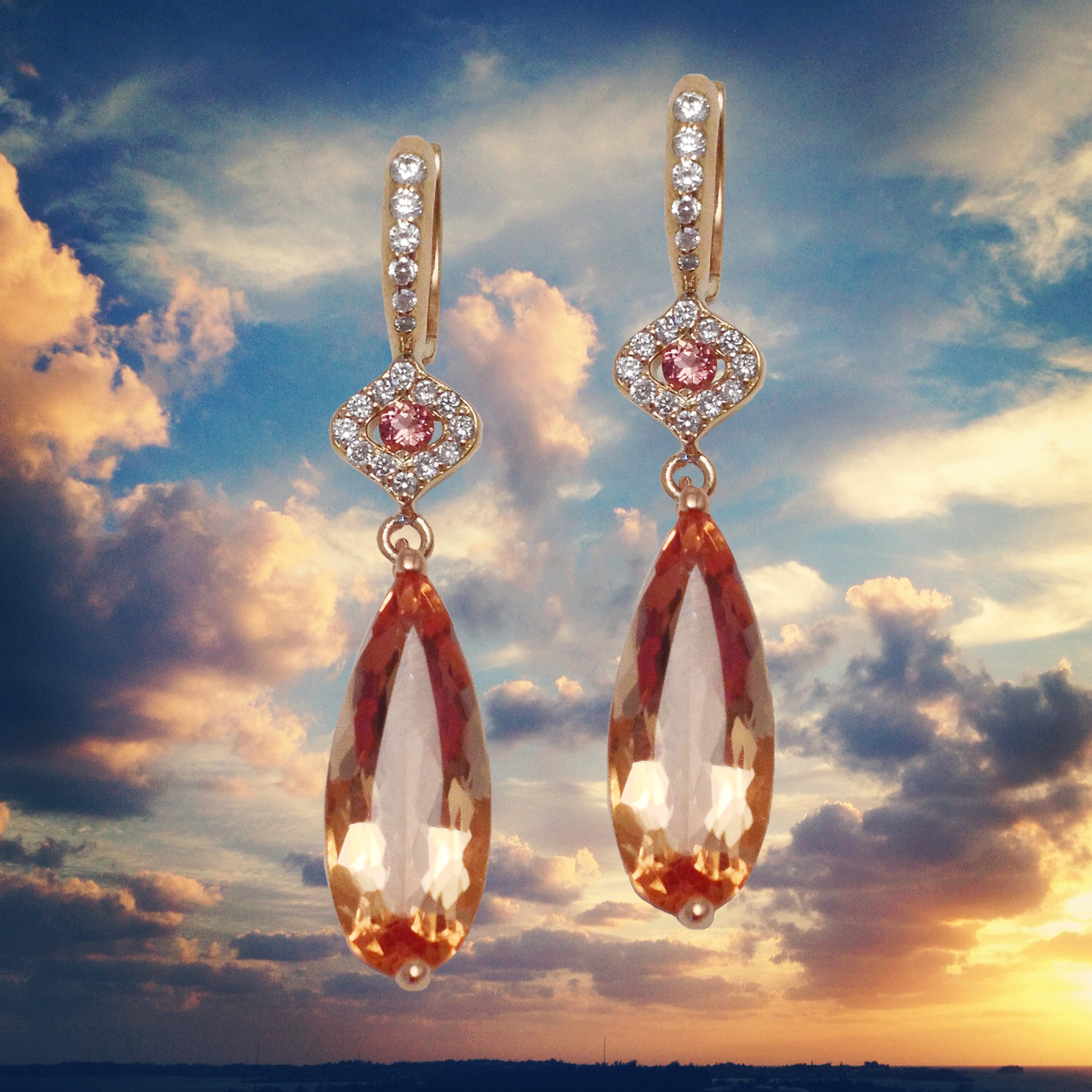 Sunset and 2E900-156-Precious Topaz, Diamond and Pink Tourmaline Earrings by Jane Taylor