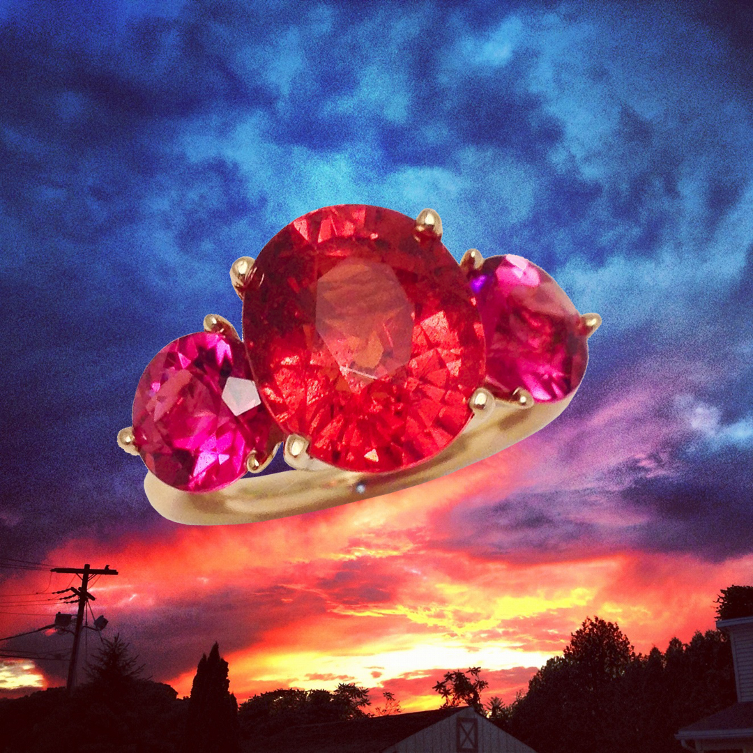 Sunset and R776 Spessartite Garnet and Rubellite ring by Jane Taylor