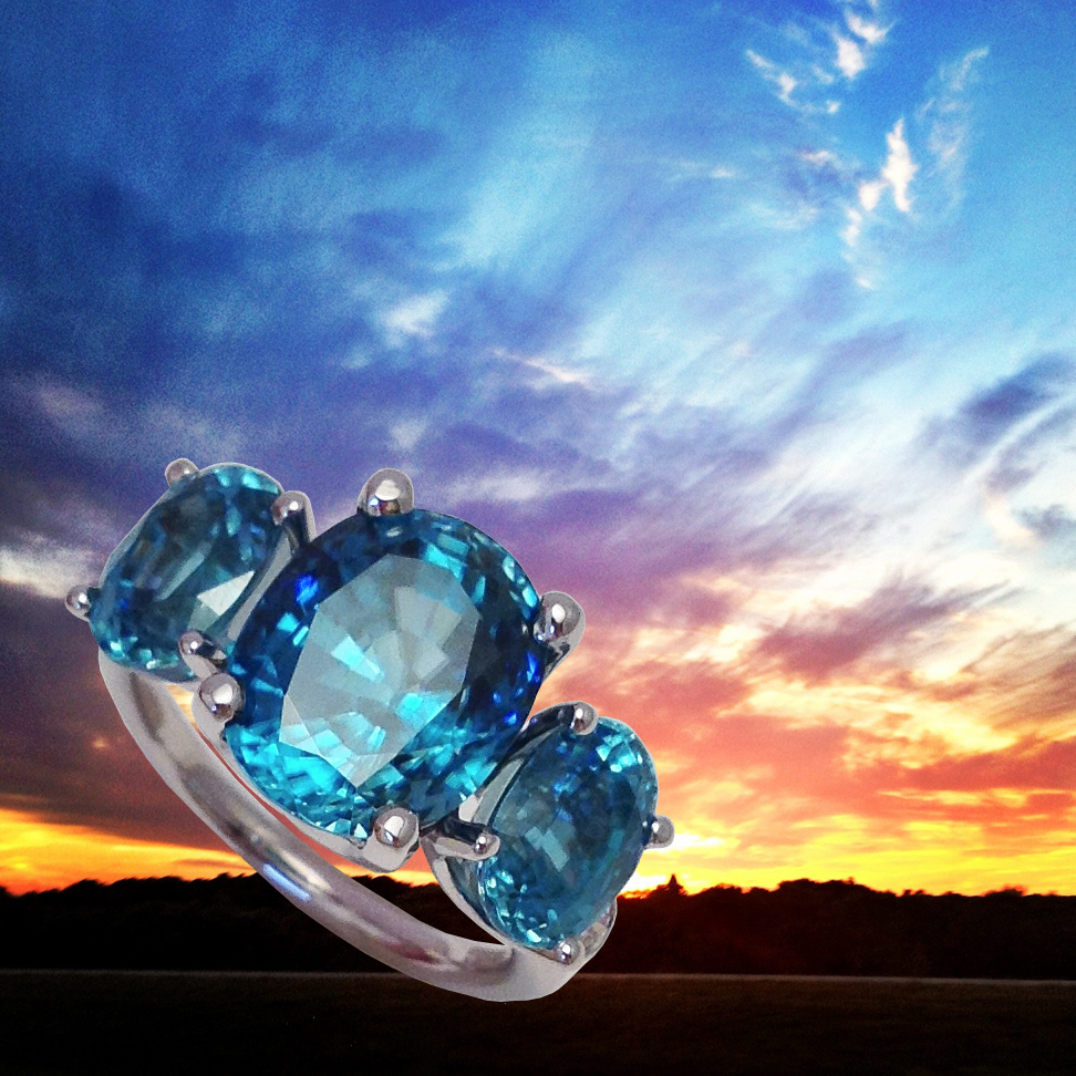 Sunset and R778 Blue Zircon ring by Jane Taylor