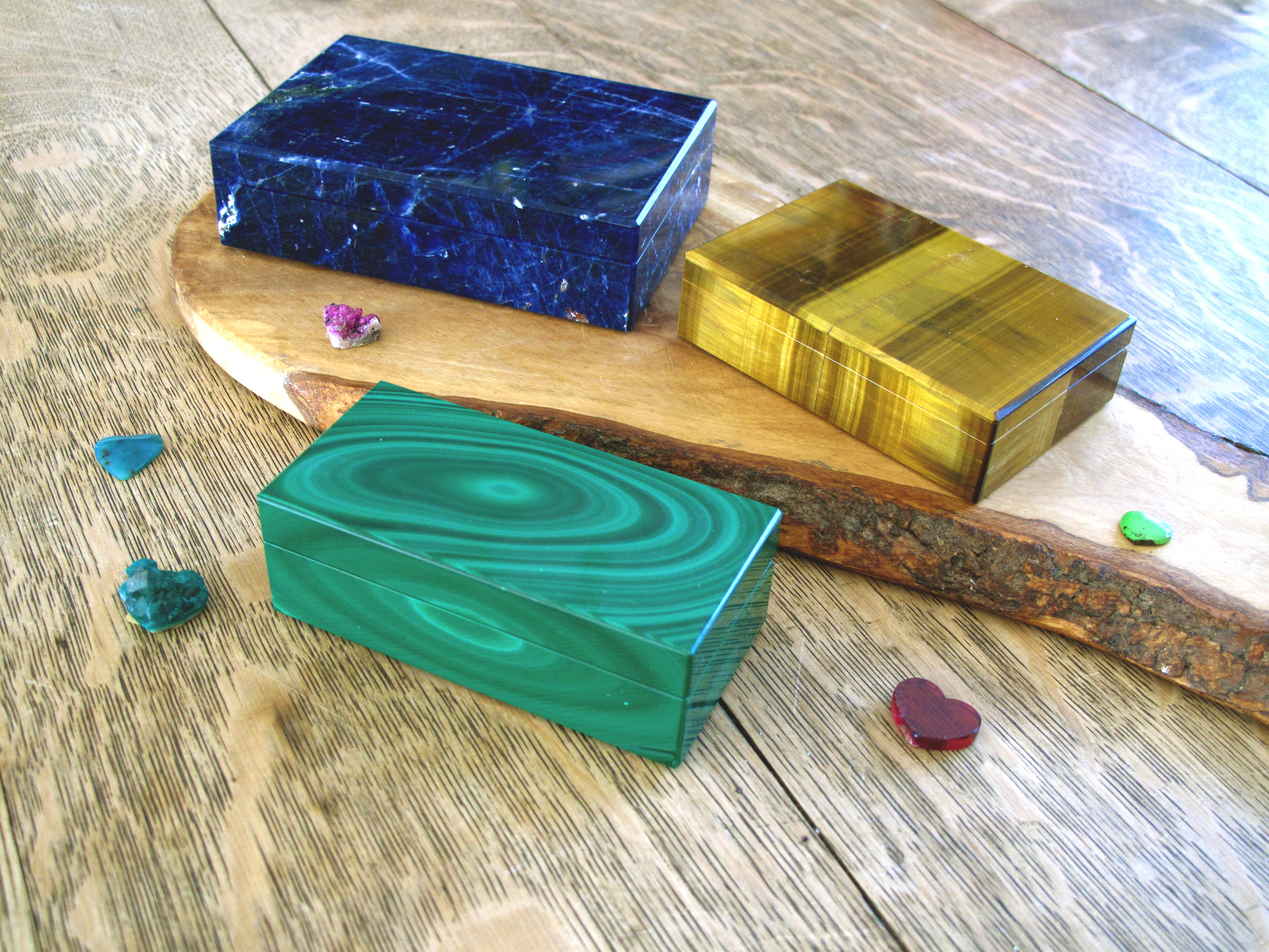 Malachite, Sodalite and Tiger's Eye boxes from Jane Taylor's personal collection