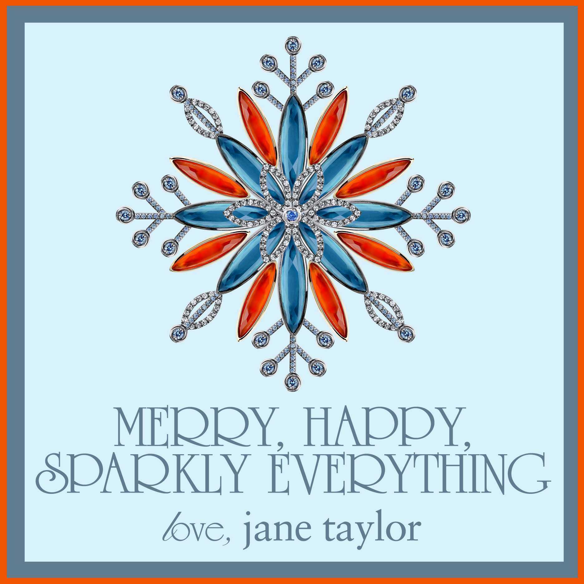 jane taylor jewelry gemstone and diamond snowflake holiday card