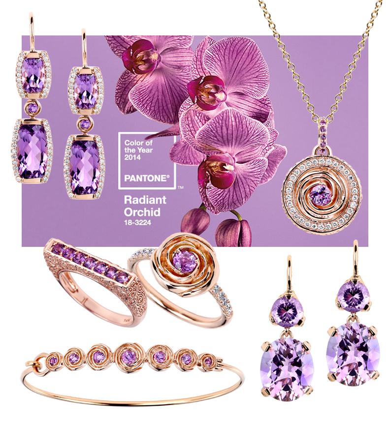 orchid, amethyst, gold, rose, diamond, jewelry