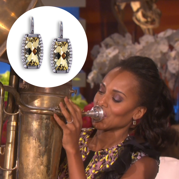 Kerry Washington in Jane Taylor Jewelry lemon quartz and diamond earrings on The Ellen Show