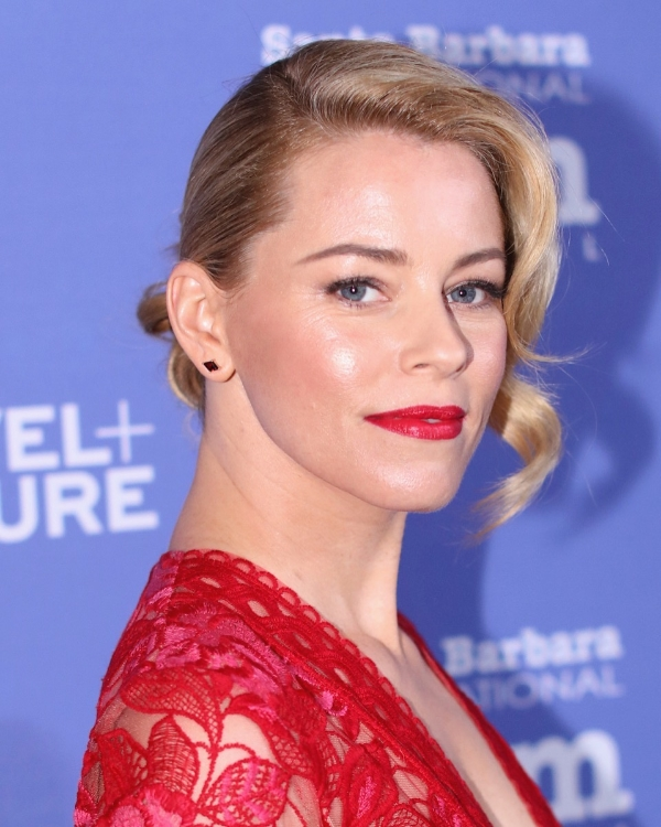 Elizabeth Banks in Jane Taylor Jewelry red garnet kite stud earrings at the Santa Barbara International Film Festival