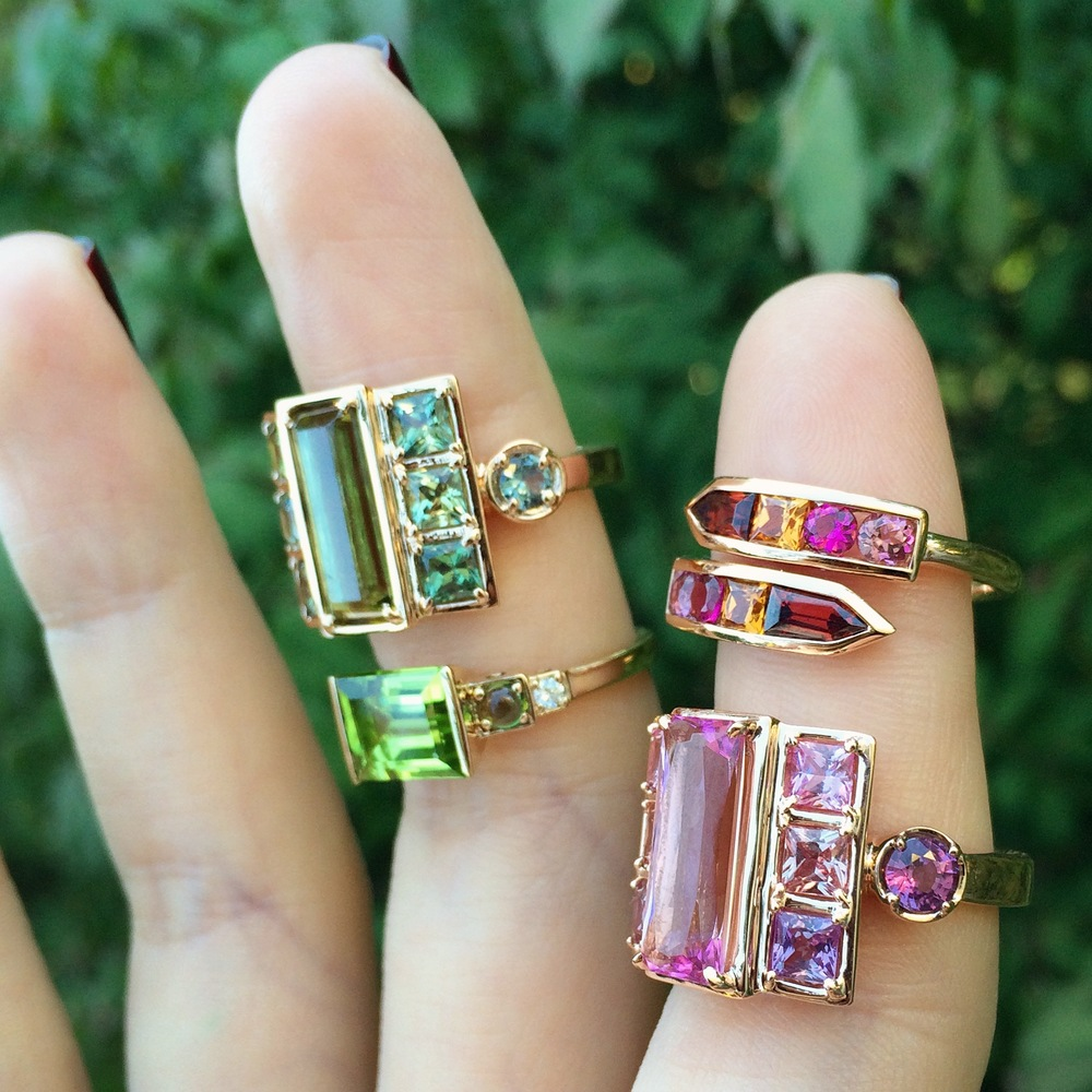 Jane Taylor Jewelry Green and Pink Gemstone Rings