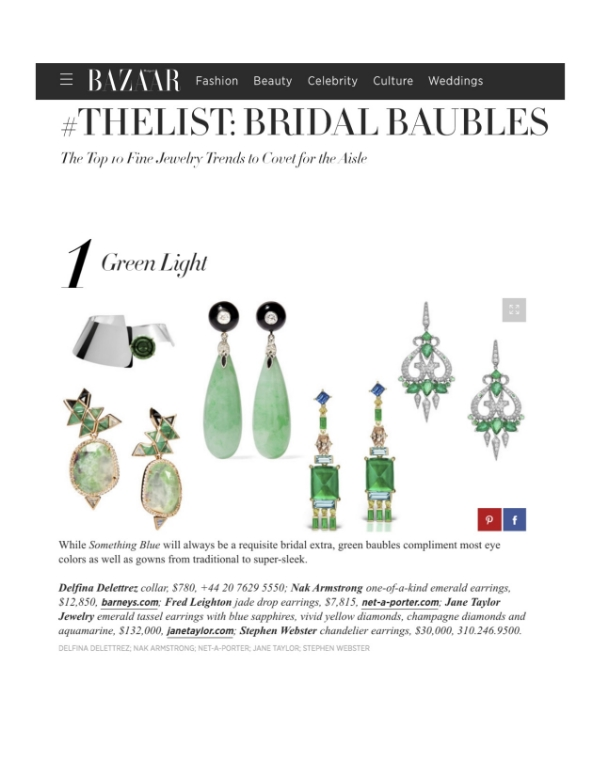 Jane Taylor Jewelry one-of-a-kind emerand, sapphire, diamond and aqua tassel earrings on HarpersBazaar.com Bridal Baubles