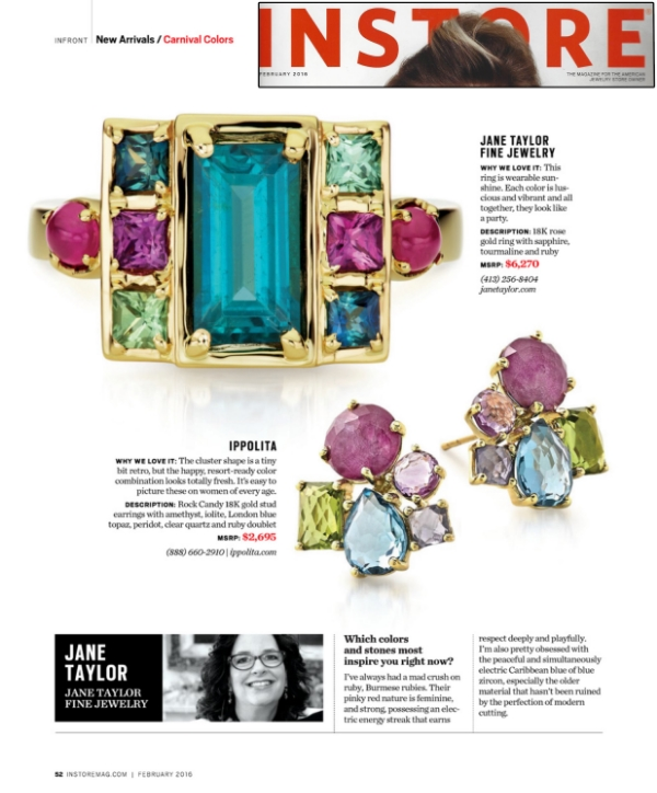 Jane Taylor Jewelry Cirque Cloud Swing Ring with tourmaline, sapphire and rubies in InStore Magazine