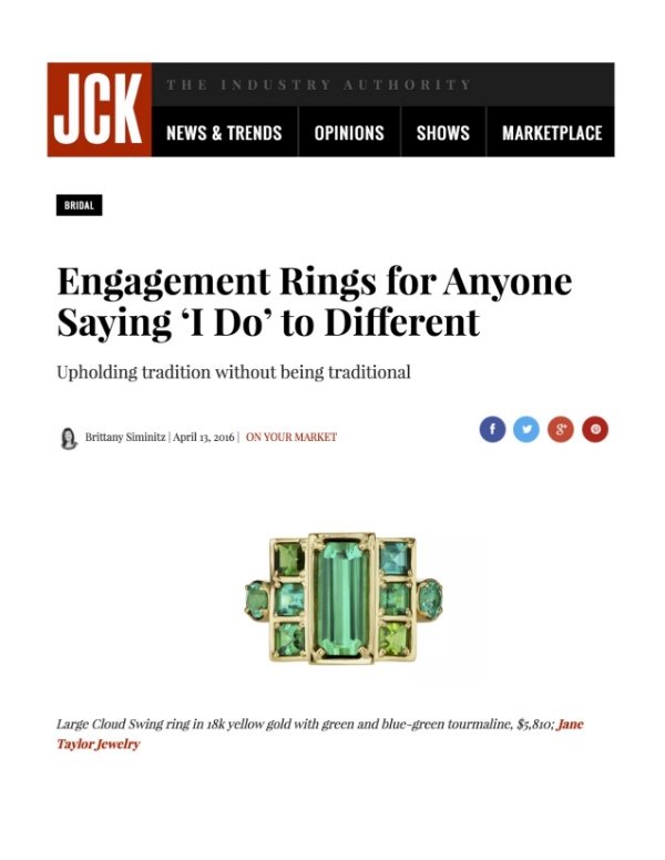 Jane Taylor Jewelry Cirque Cloud Swing ring with green tourmaline in JCK online's alternative engagement rings