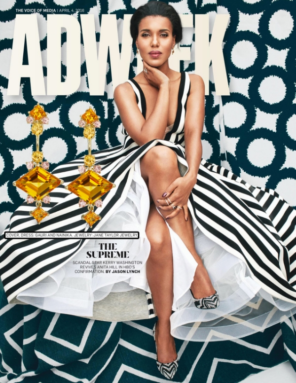 Kerry Washington on the cover of ADWEEK in Jane Taylor Jewelry Mini Frida studs and jackets with citrine and garnet