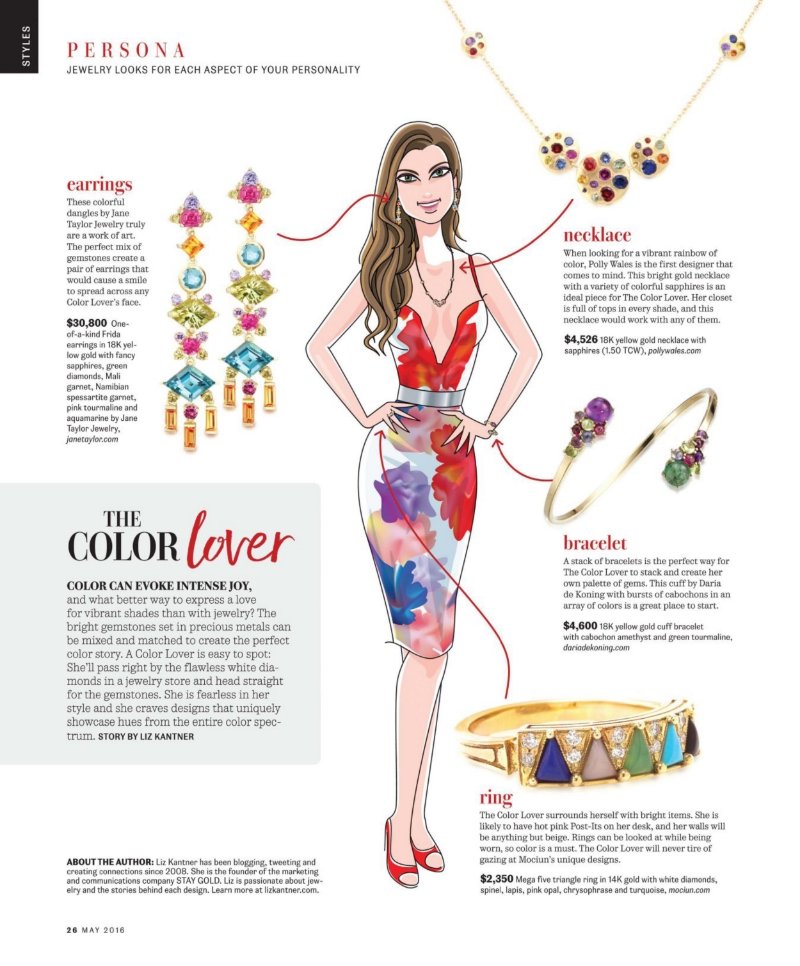 Jane Taylor Jewelry one-of-a-kind Frida earrings with multi colored gemstones in InDesign Magazine