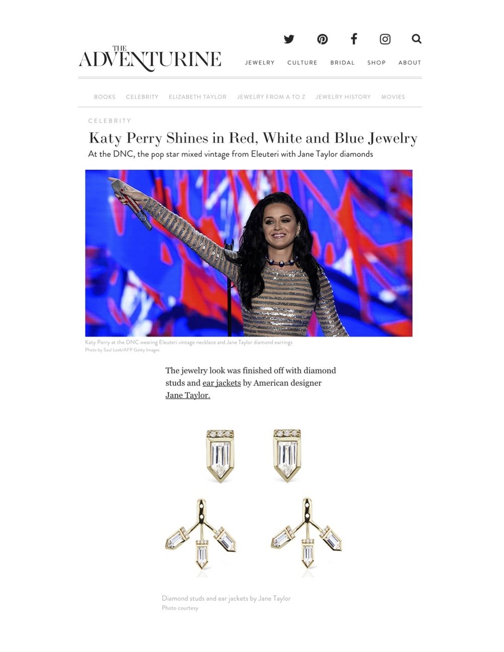 The Adventurine - Katy Perry Shines in Red, White and Blue Jewelry - Jane Taylor Jewelry