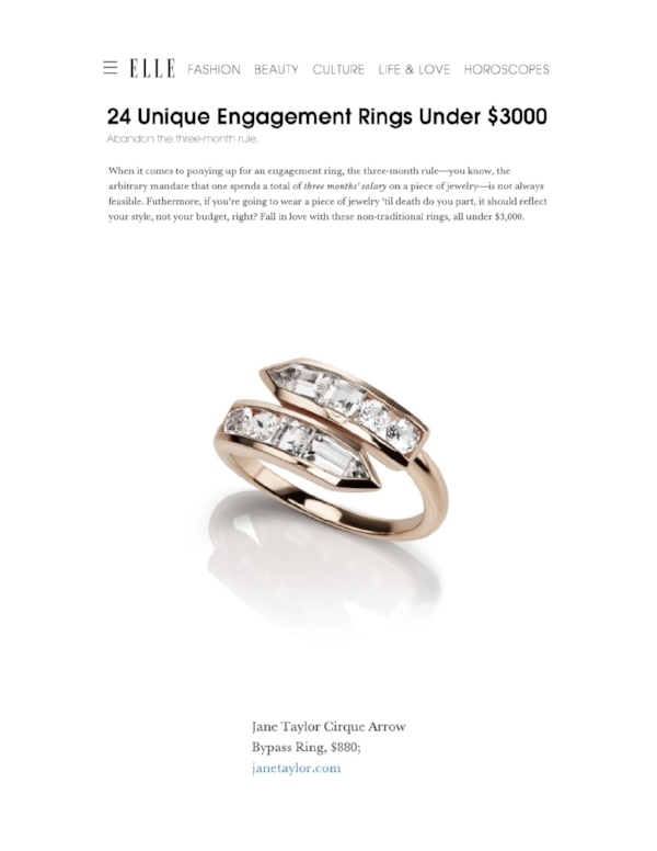Elle.com - 24 Unique Engagement Rings Under $3000 - Jane Taylor Jewelry