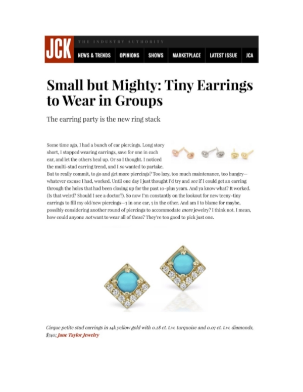 JCK Online - Small but Mighty: Tiny Earrings to Wear in Groups - Jane Taylor Jewelry