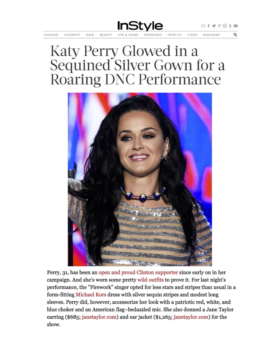 InStyle.com - Katy Perry Glowed in a Sequined Silver Gown for a Roaring DNC Performance - Jane Taylor Jewelry earrings
