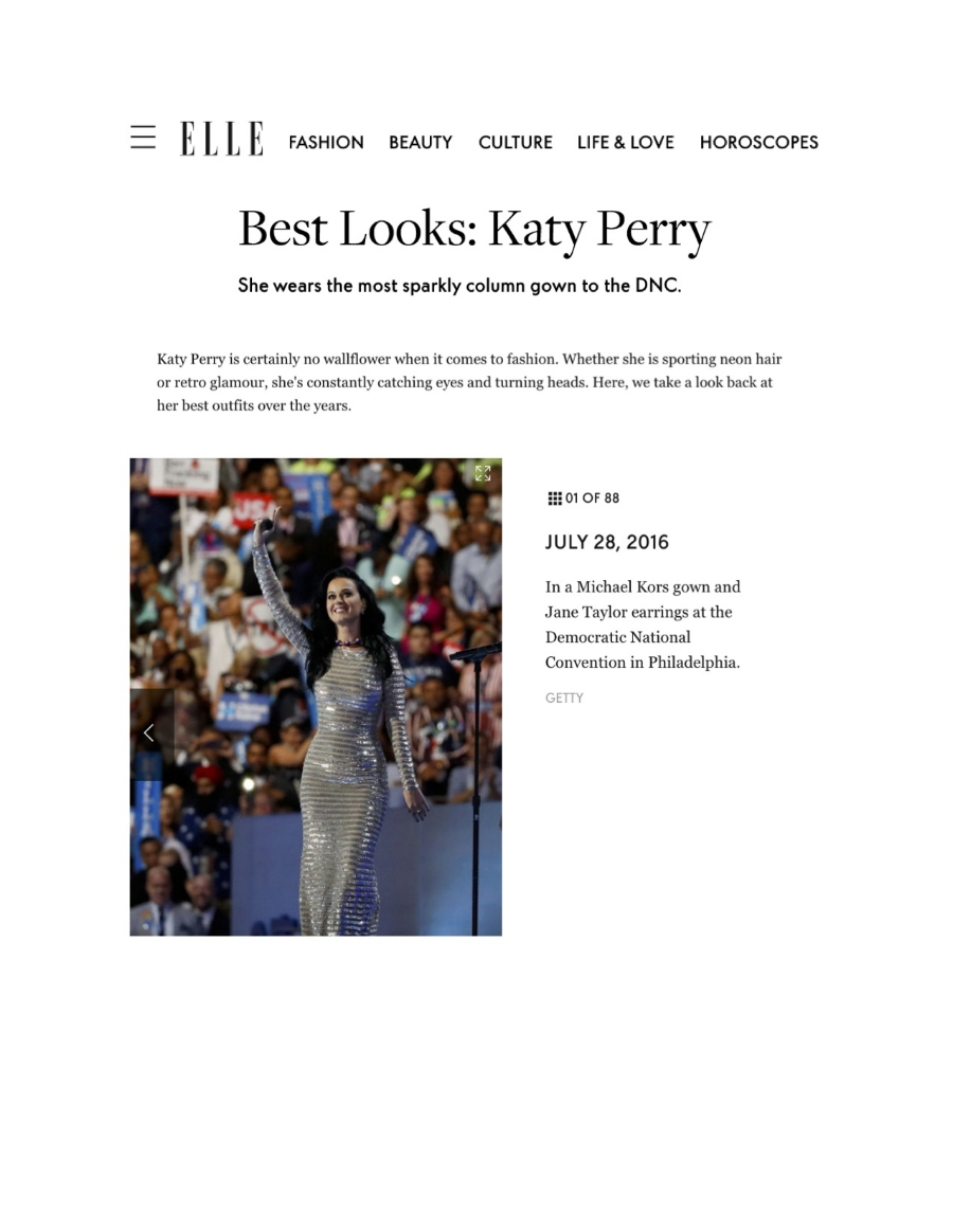 Elle.com - Best Looks: Katy Perry at the 2016 DNC - Jane Taylor Jewelry