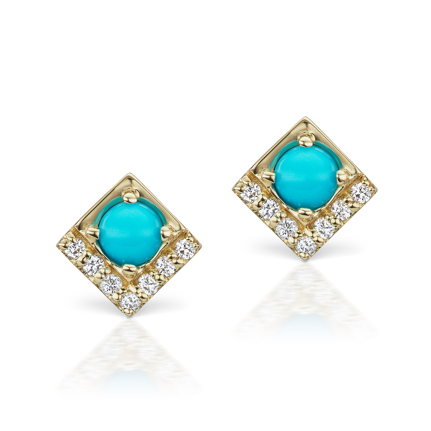 Cirque Petite Square Stud Earrings With Turquoise As Seen In Jck
