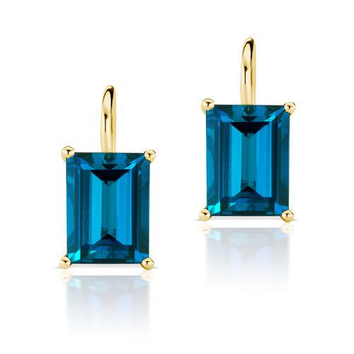 d341918a8c8a Jane Taylor Jewelry - Rosebud London Blue Topaz Baguette Drop Earrings in 14K  yellow gold