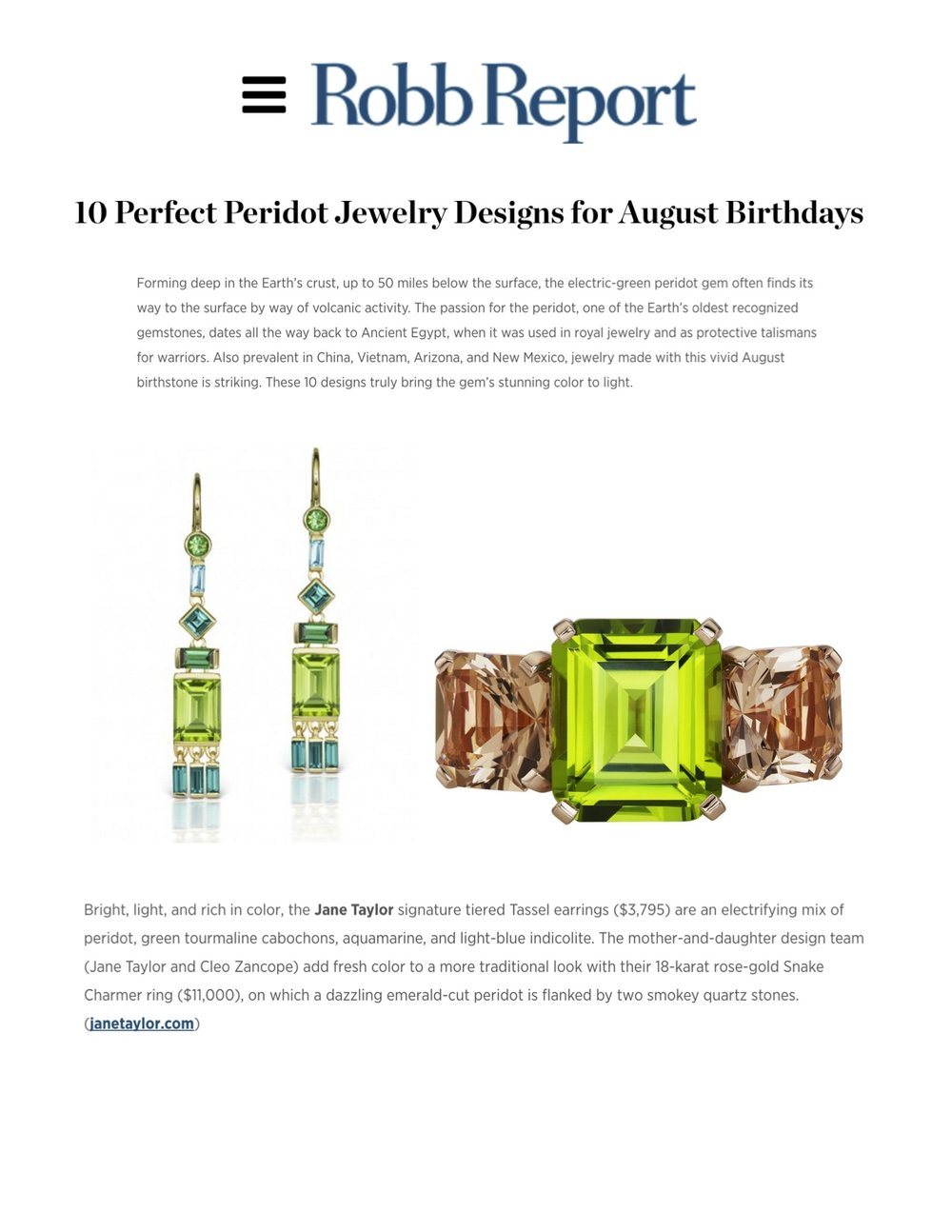 Jane Taylor Jewelry in Robb Report