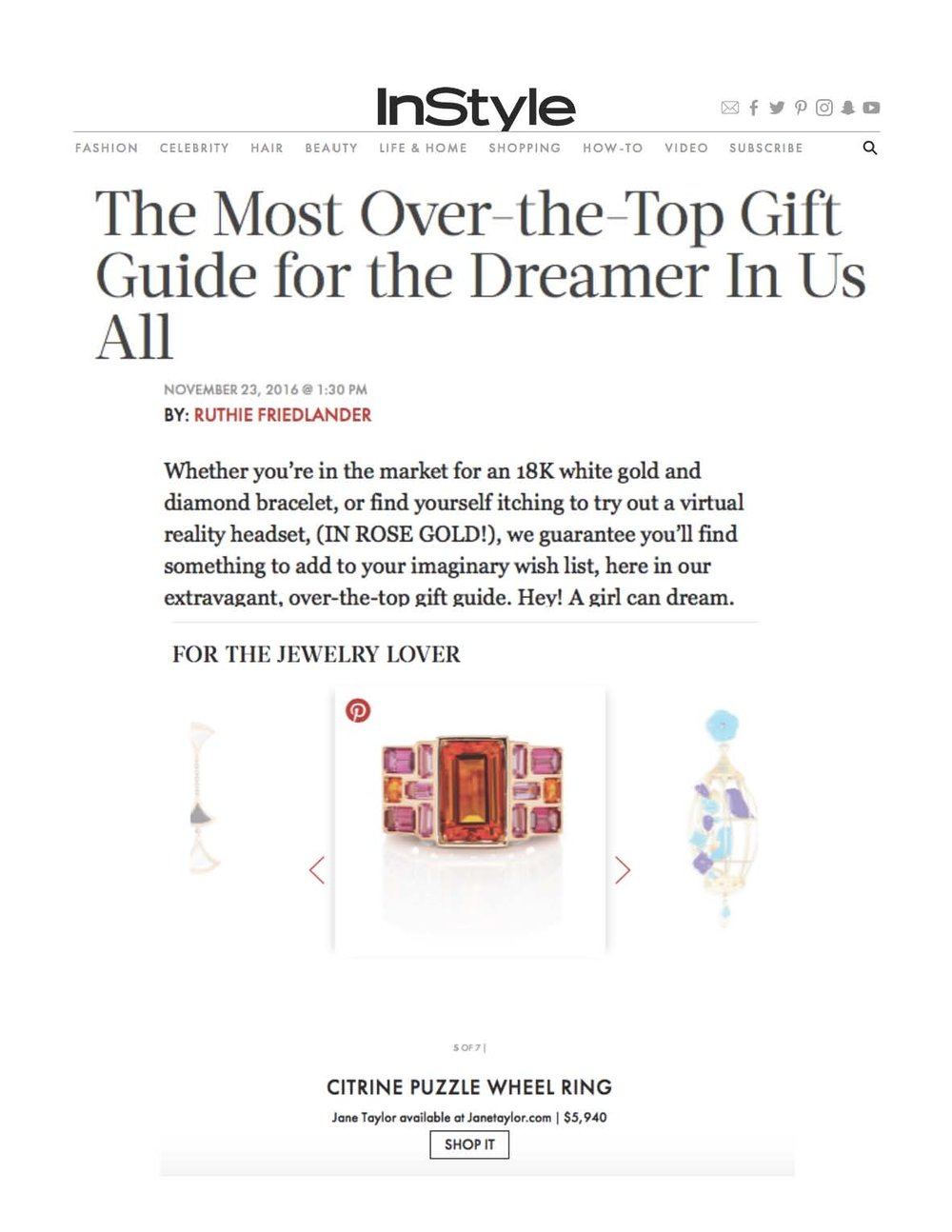 InStyle.com - Over the Top Gift Guide - Jane Taylor Jewelry