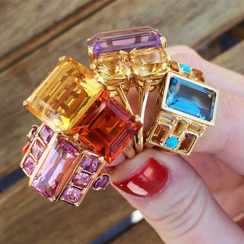 purple and orange rings cloud swing ring with pink tourmalines and sapphires jane taylor