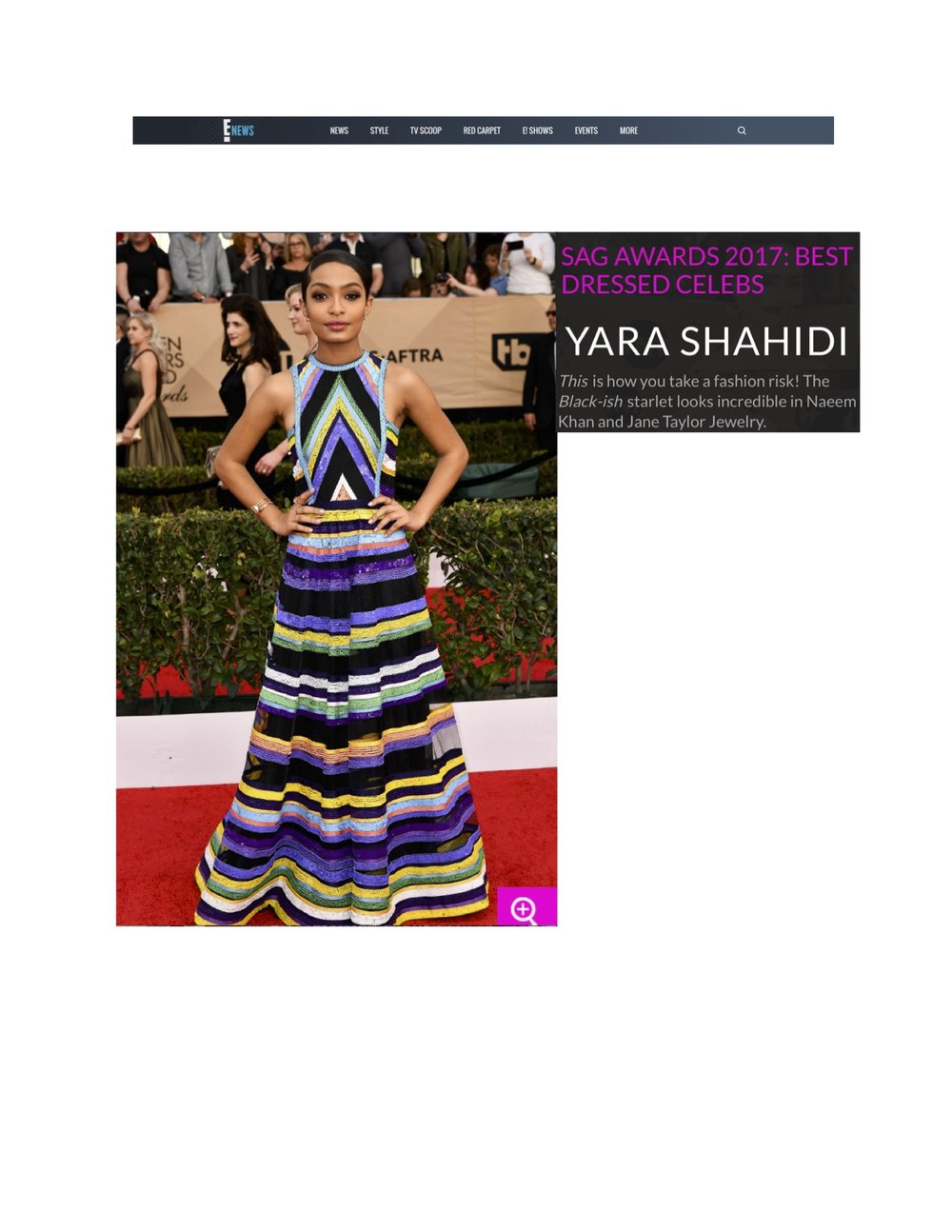 Yara Shahidi in Jane Taylor Earrings, Rings, and Bracelet at the 2017 SAG Awards - EOnline.com