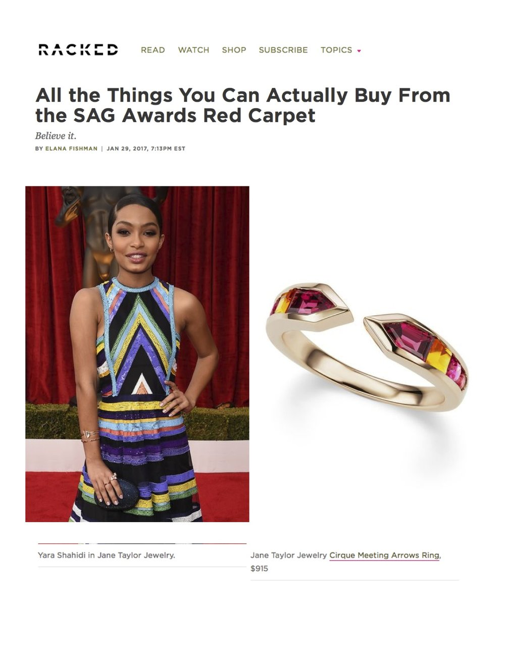 Yara Shahidi in Jane Taylor Earrings, Rings, and Bracelet at the 2017 SAG Awards - Racked.com