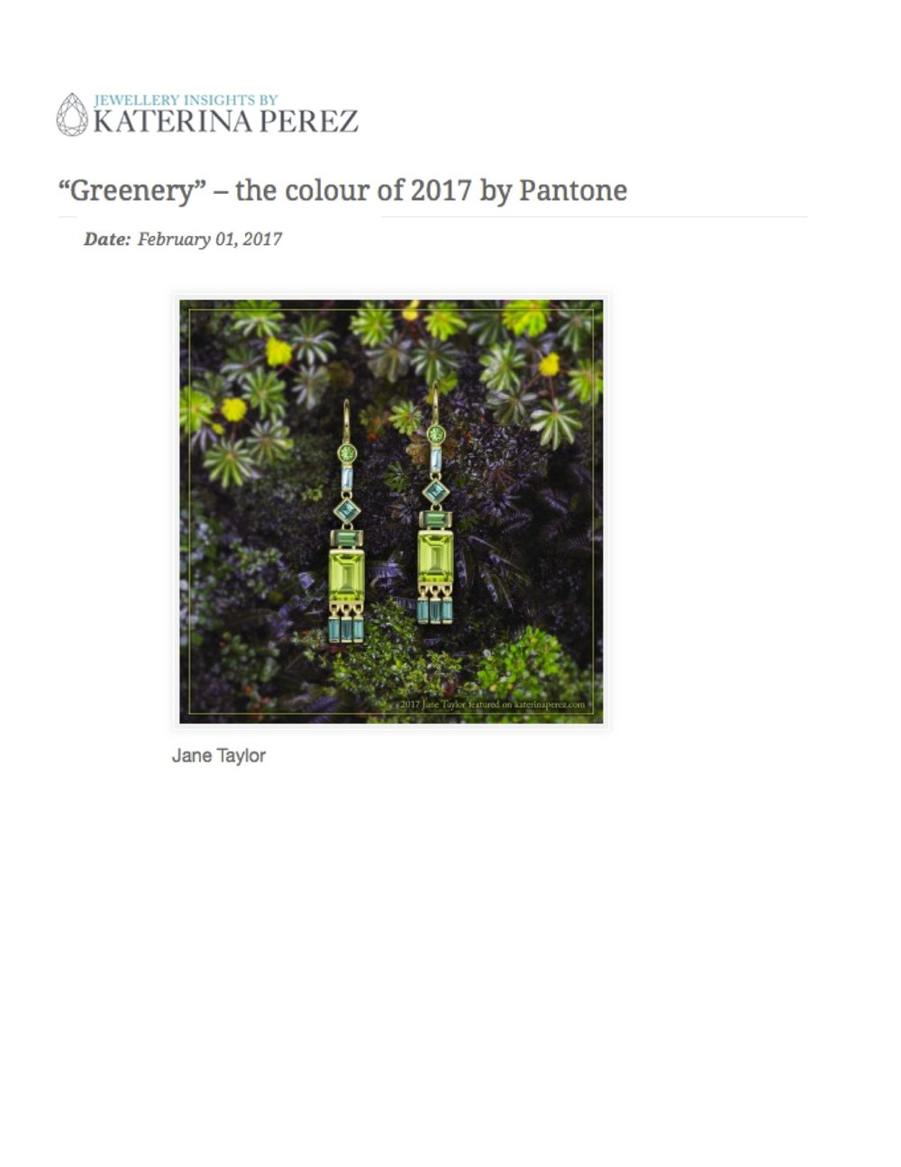 "Jane Taylor peridot tassel earrings in Katerina Perez's ""Greenery"" roundup"