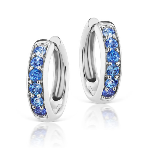 77e4f544f Jane Taylor Jewelry - Cirque Classic Hoops with Blue Sapphires in 14K White  Gold.