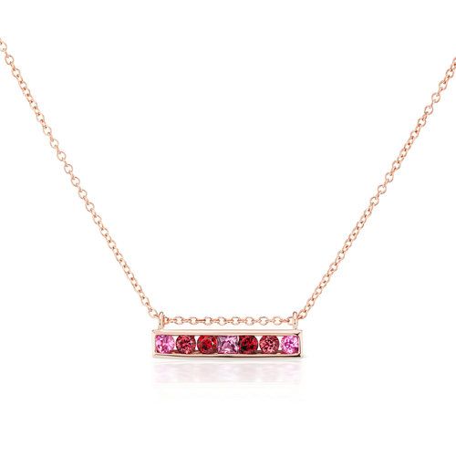 66b08349391b Jane Taylor Jewelry - Cirque Horizontal Bar Necklace in 14K Rose Gold with  Pink Tourmaline and