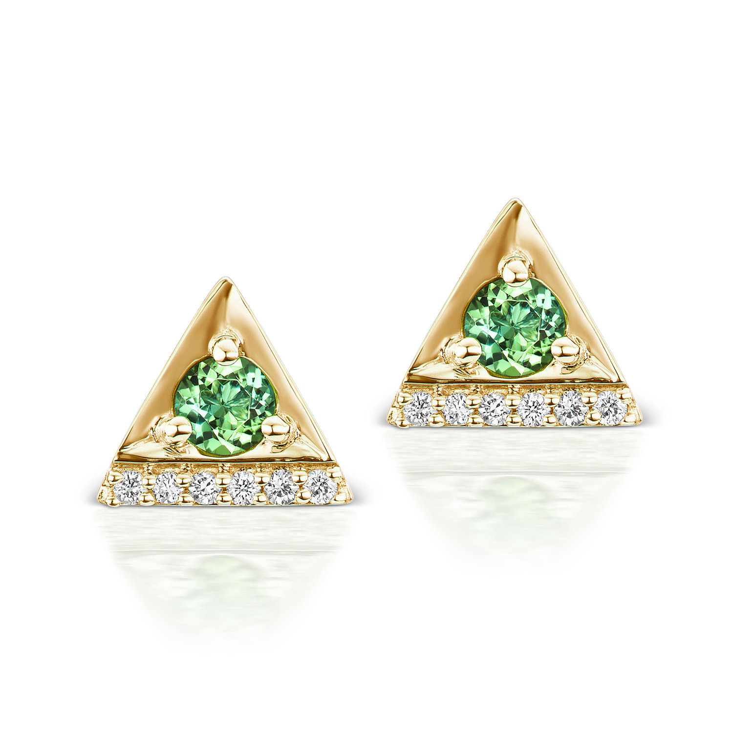 38cf4cf7d Cirque Triangle Stud Earrings with Green Tourmaline — Jane Taylor Jewelry
