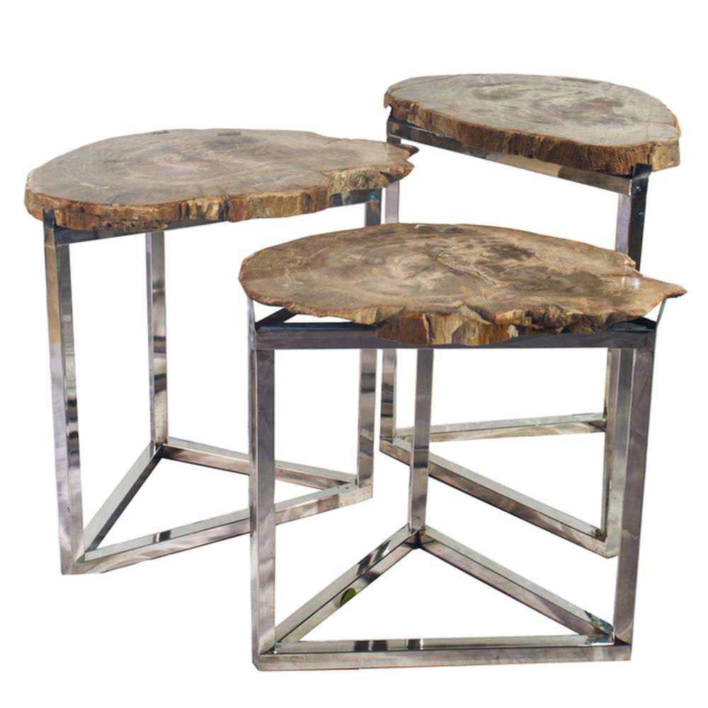 Petrified Wood Park Slope Side Tables PF-AR E