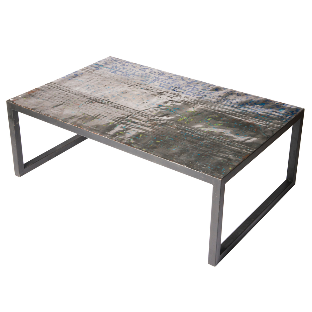 Large Metal Recycled Oil Drum Coffee Table R 1110