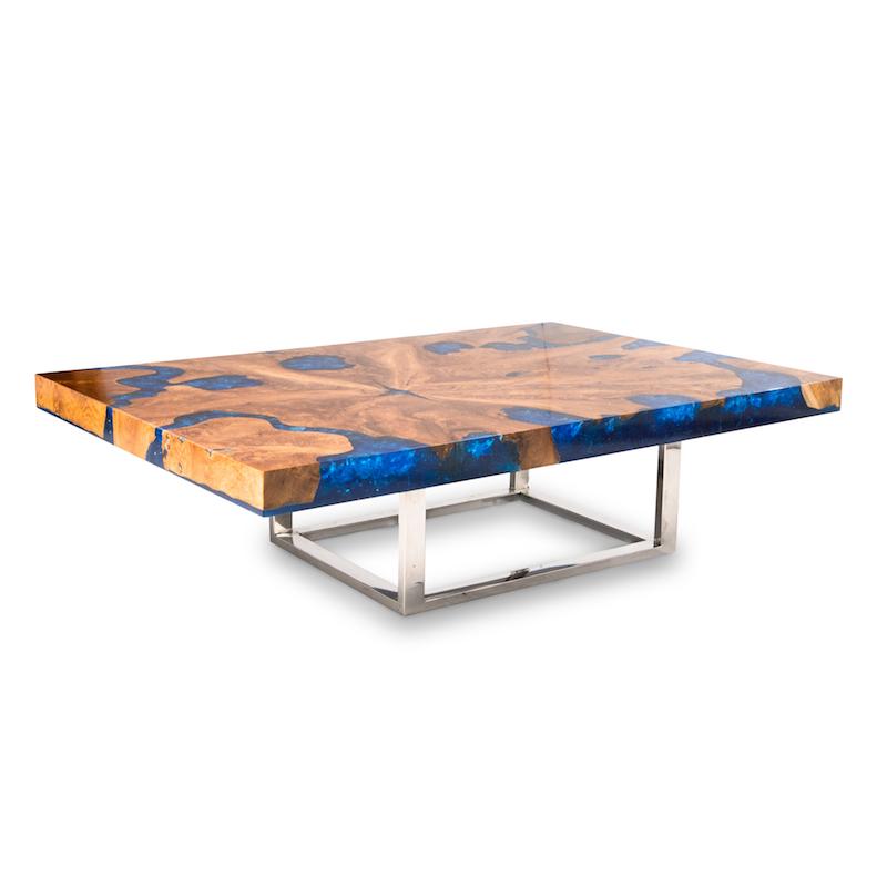 blue cracked resin coffee table cr-2040 — a i r e