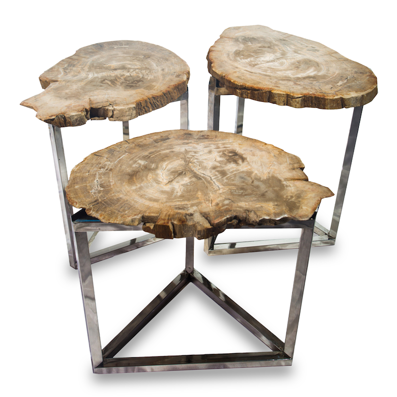 Petrified Wood Park Slope Side Tables PF 2015