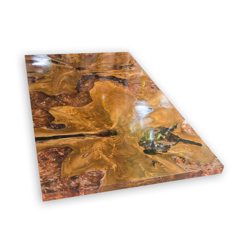 amber teak root and resin coffee table cr-2042 — a i r e