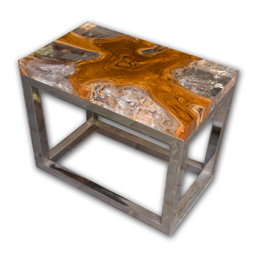teak root and resin side table cr-2022 — a i r e