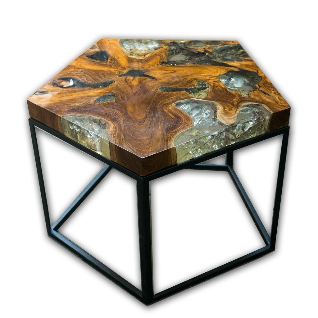 Pentagon Teak Root And Resin Side Table CR 2023 ...