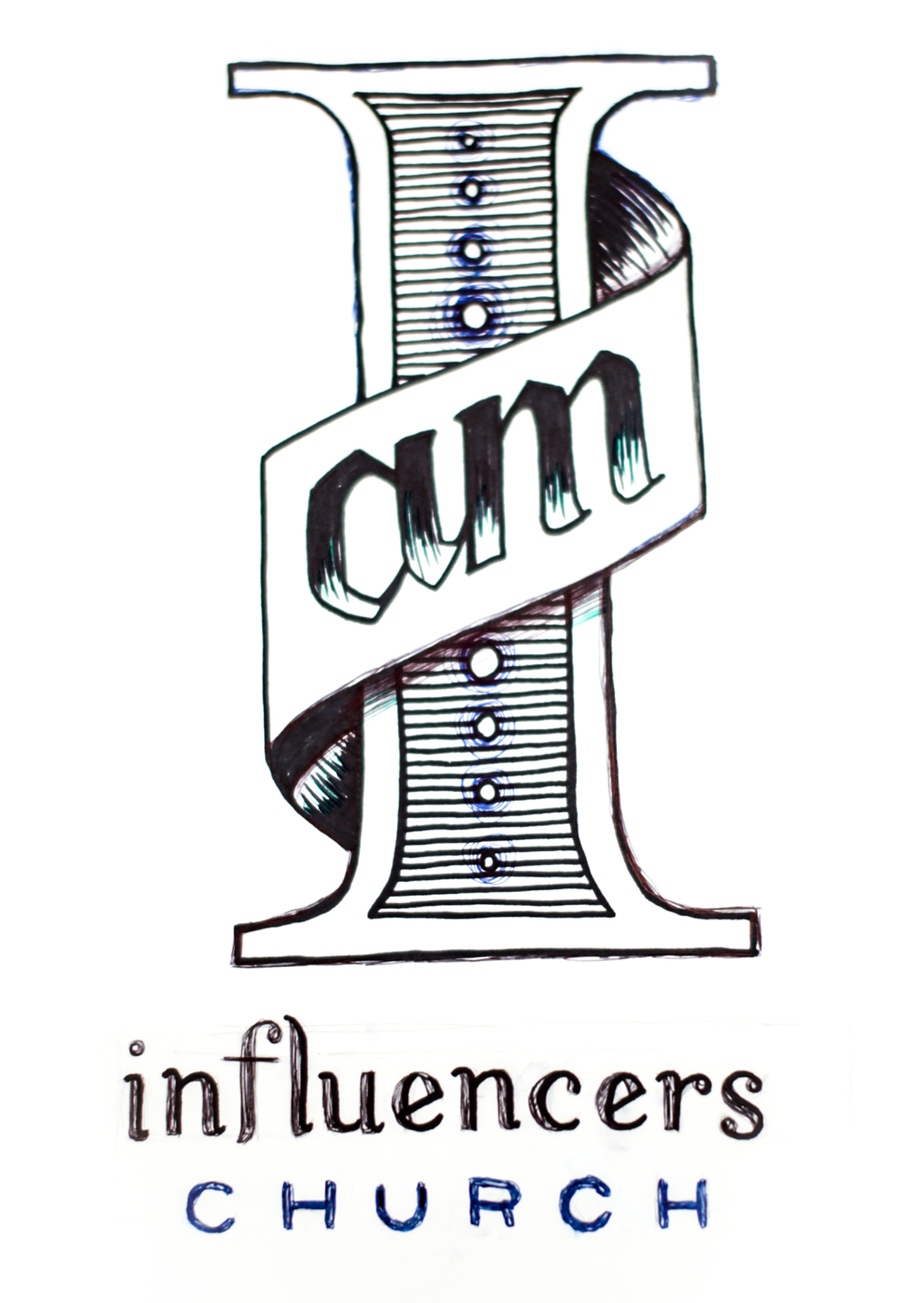 "Hand drawn in a similar style to the invitations, the artwork featured a massive roman numeral one in celebration of the 1 year Anniversary which doubled as an ""I"" to read ""I am Influencers Church."""
