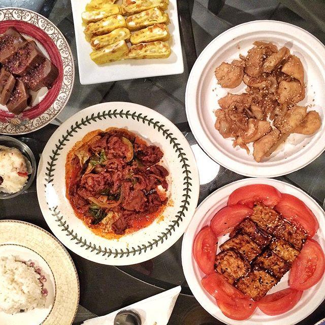 Quick make-dinner-with-what-you-have. BBQ tofu, #chickenteriyaki, #계란말이 #요리 #집밥 #homemade #koreanfood