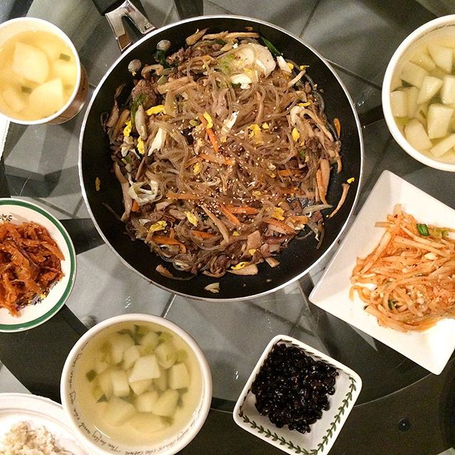 Today's dinner: #잡채 #japchae , improvised from @maangchi! side dishes also all made from scratch! #감자국 #무상채 #콩자반 #저녁 #밥상 #집밥 #요리 #홈메이드 #먹스타크램 #홈쿡 #저녁 #homecook #homemade #cooking #onmytable #banchan #koreanfood #noms #foodporn #foodie